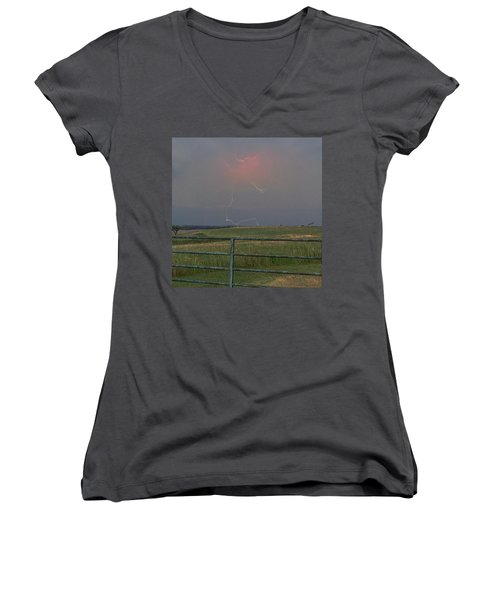 Lightning Bolt On A Scenic Route Women's V-Neck