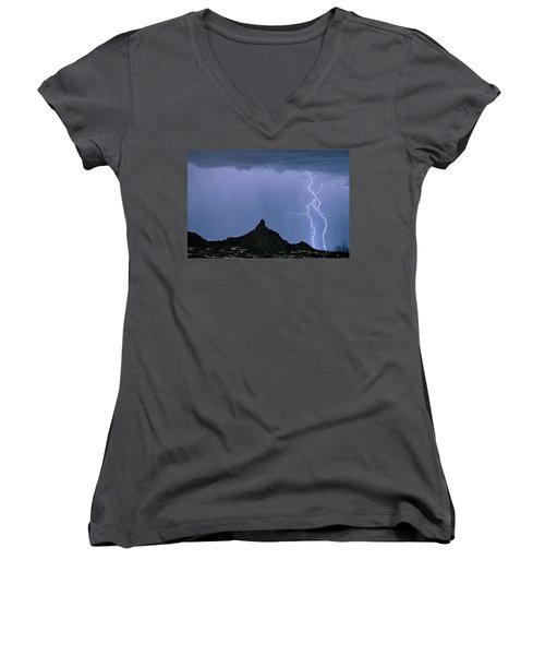 Women's V-Neck T-Shirt (Junior Cut) featuring the photograph Lightning Bolts And Pinnacle Peak North Scottsdale Arizona by James BO Insogna