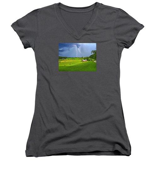Lightning Storm Over Jenne Farm Women's V-Neck T-Shirt (Junior Cut) by John Vose