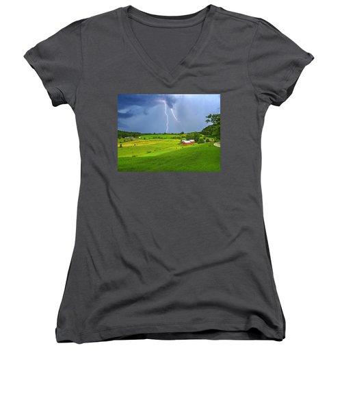 Lightning Storm Over Jenne Farm Women's V-Neck