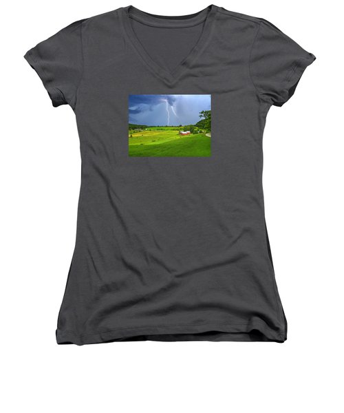 Lightning Storm Over Jenne Farm Women's V-Neck (Athletic Fit)