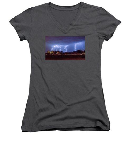 Lightning Over Laveen Women's V-Neck T-Shirt (Junior Cut) by Kimo Fernandez