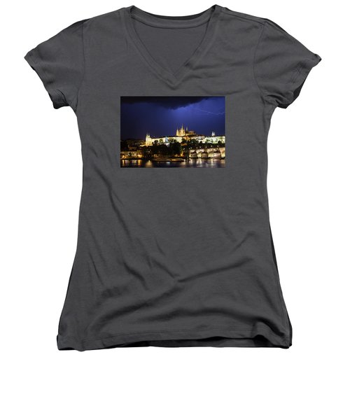 Women's V-Neck T-Shirt featuring the photograph Lightning Over Prague Castle by Alex Lapidus