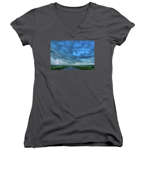 Lightning Strike Women's V-Neck T-Shirt