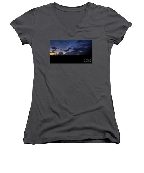 Lightning Sunset Women's V-Neck T-Shirt (Junior Cut) by Brian Jones