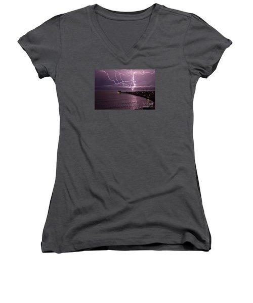 Lightning Up The Night Women's V-Neck T-Shirt (Junior Cut) by Bob Hislop