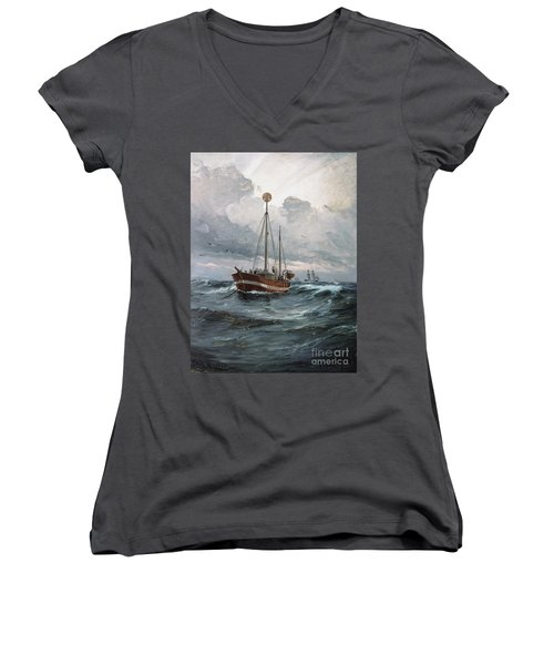 Women's V-Neck T-Shirt (Junior Cut) featuring the painting Lightship At Skagen Reef by Pg Reproductions