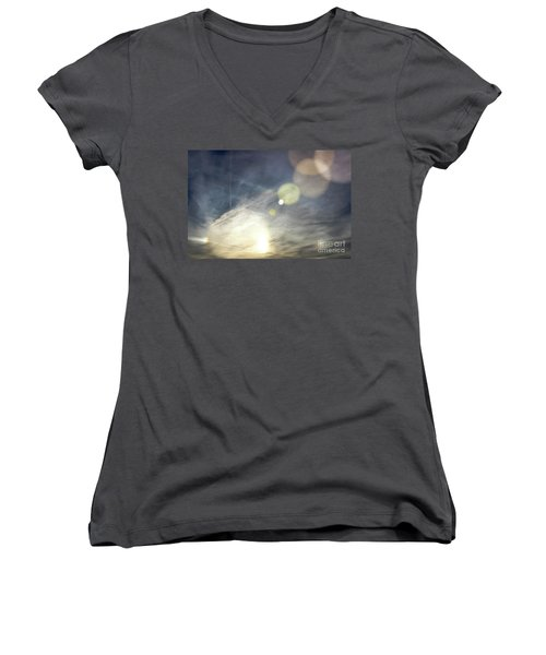 Women's V-Neck T-Shirt (Junior Cut) featuring the photograph Lightshow by Colleen Kammerer