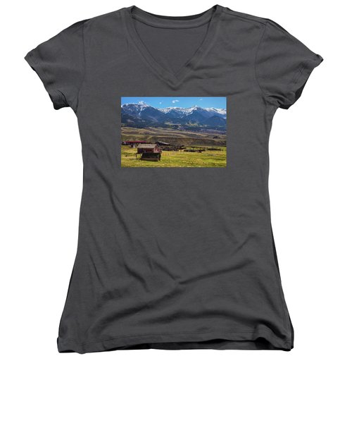 Like An Old Western Movie Women's V-Neck T-Shirt (Junior Cut) by James BO Insogna
