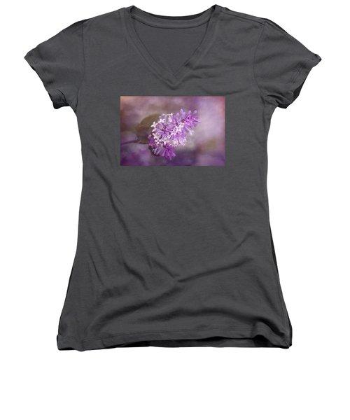Women's V-Neck T-Shirt (Junior Cut) featuring the photograph Lilac Blossom by Tom Mc Nemar