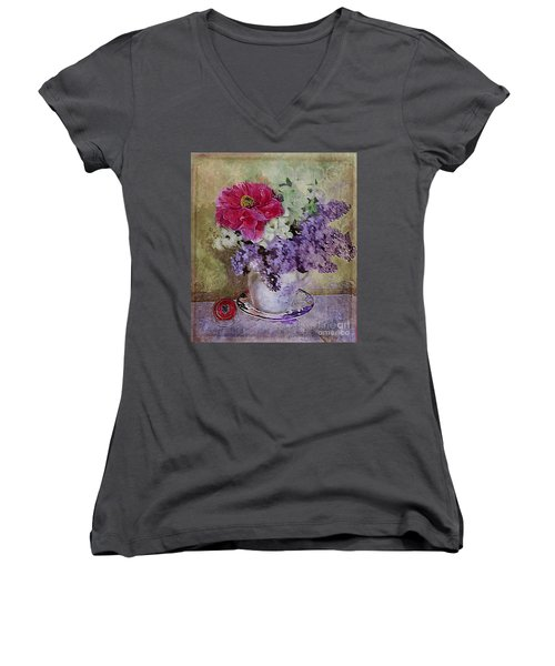 Lilac Bouquet Women's V-Neck T-Shirt (Junior Cut) by Alexis Rotella