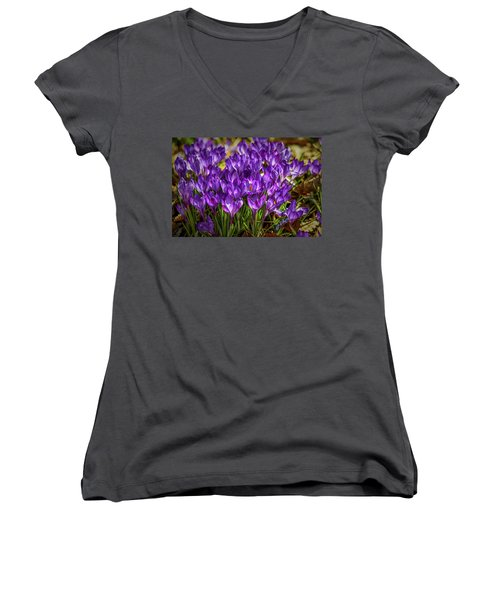 Lilac Crocus #g2 Women's V-Neck (Athletic Fit)