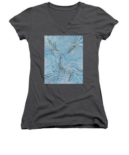 Women's V-Neck T-Shirt (Junior Cut) featuring the mixed media Lilac Sunstones by Angela Stout