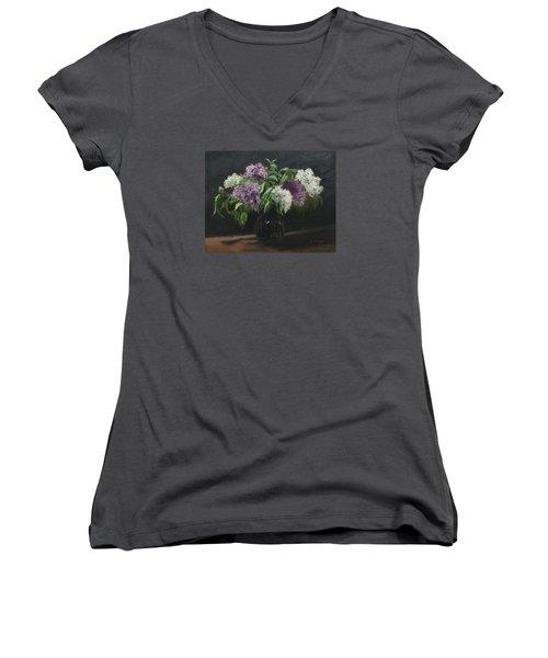 Lilacs Women's V-Neck T-Shirt (Junior Cut) by Alan Mager