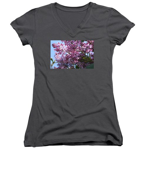 Lilacs In Bloom 2 Women's V-Neck T-Shirt (Junior Cut) by Barbara Yearty