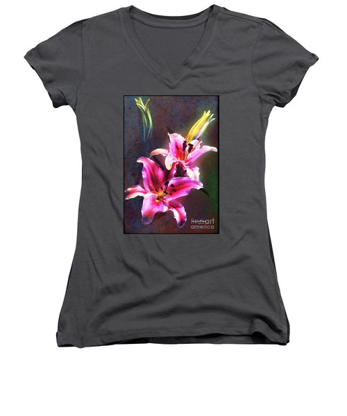 Lilies At Night Women's V-Neck (Athletic Fit)