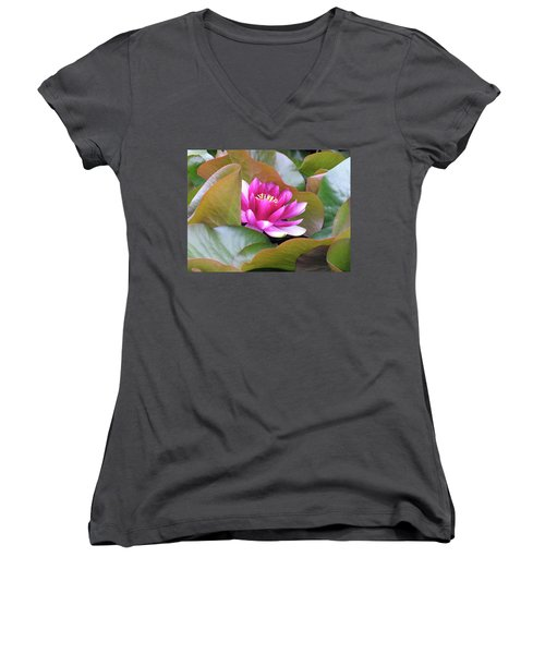 Women's V-Neck T-Shirt (Junior Cut) featuring the photograph Lilly In Bloom by Wendy McKennon
