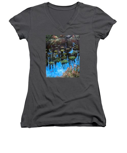 Lilly Pads And Reflections Women's V-Neck T-Shirt (Junior Cut) by Barbara O'Toole