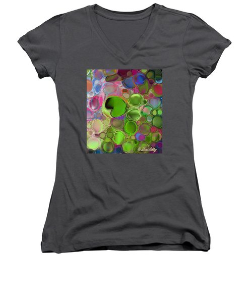 Lilly Pond Women's V-Neck T-Shirt (Junior Cut) by Loxi Sibley
