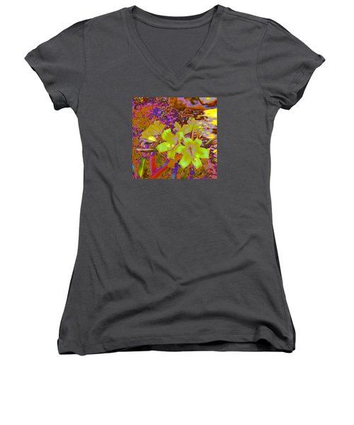 Lily Glow Yellow Women's V-Neck T-Shirt (Junior Cut) by M Diane Bonaparte