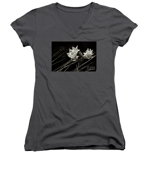 Lily In Monochrome Women's V-Neck T-Shirt (Junior Cut) by Nicholas Burningham
