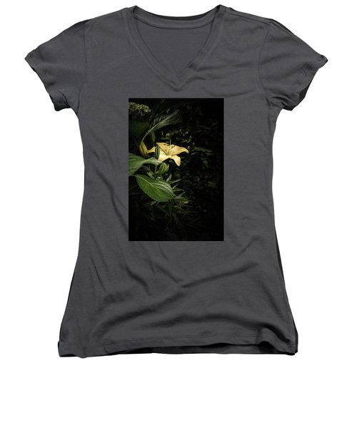 Women's V-Neck T-Shirt (Junior Cut) featuring the photograph Lily In The Garden Of Shadows by Marco Oliveira