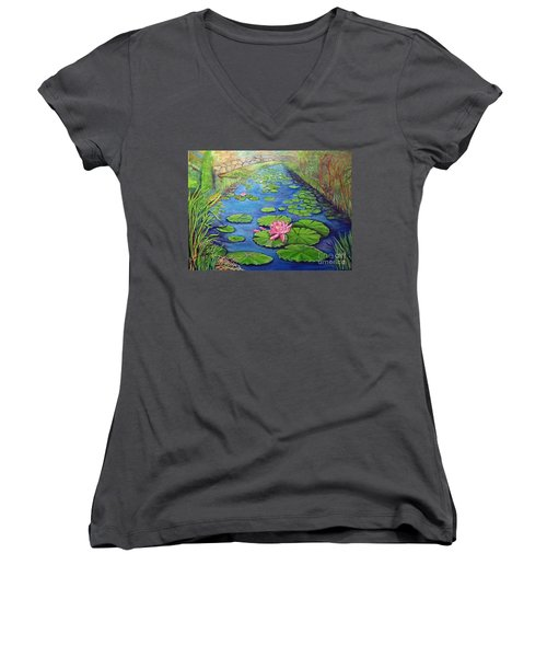 Women's V-Neck T-Shirt (Junior Cut) featuring the painting Water Lily Canal by Ecinja Art Works