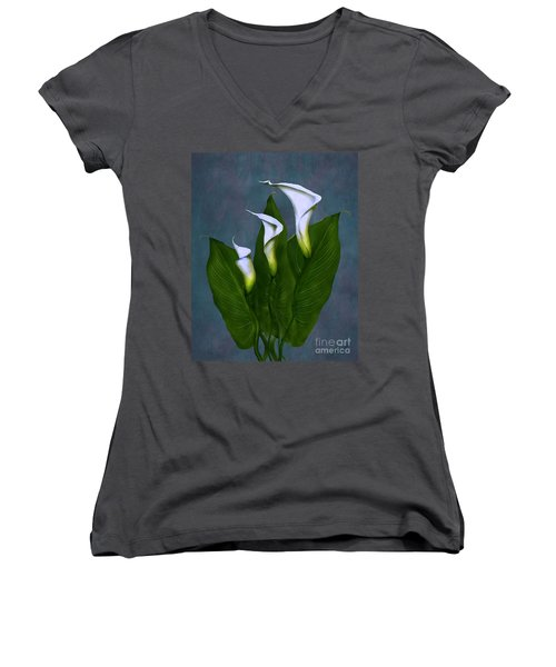 White Calla Lilies Women's V-Neck T-Shirt (Junior Cut) by Peter Piatt