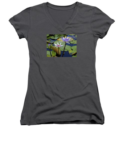 Women's V-Neck T-Shirt (Junior Cut) featuring the photograph Lily Trio by Judy Vincent
