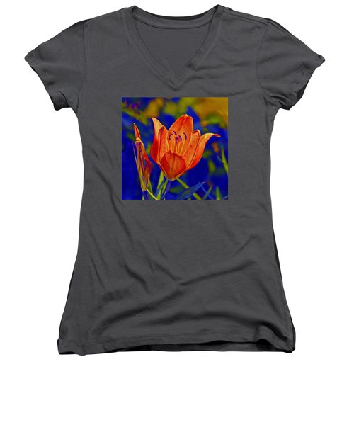 Women's V-Neck T-Shirt (Junior Cut) featuring the photograph Lily With Sabattier by Bill Barber