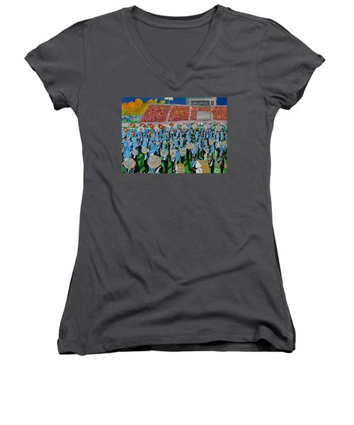Lincoln Band Women's V-Neck T-Shirt (Junior Cut) by Rodger Ellingson
