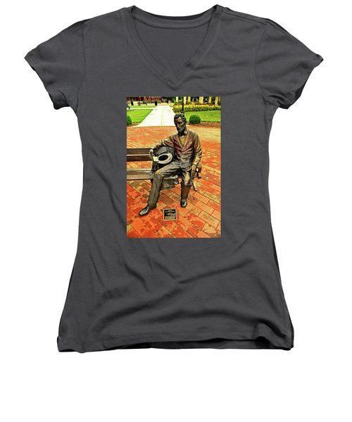 Women's V-Neck T-Shirt (Junior Cut) featuring the photograph Lincoln Library Statue 004 by George Bostian