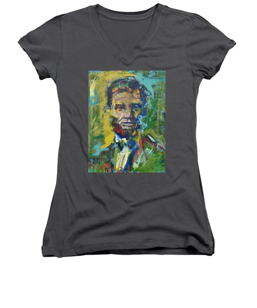 Lincoln Women's V-Neck T-Shirt (Junior Cut) by Robert Joyner