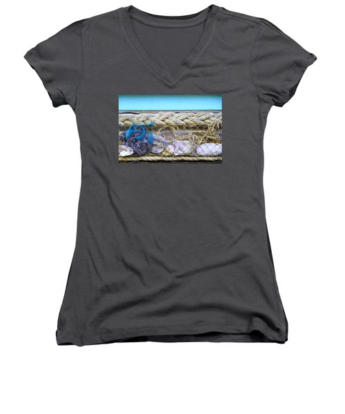 Women's V-Neck T-Shirt featuring the photograph Line Of Debris II by Stephen Mitchell