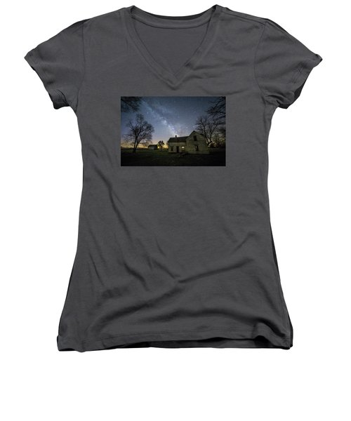 Women's V-Neck T-Shirt (Junior Cut) featuring the photograph Linear by Aaron J Groen