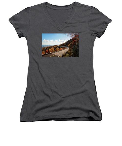 Linn Cove Viaduct Women's V-Neck T-Shirt (Junior Cut) by Deborah Scannell
