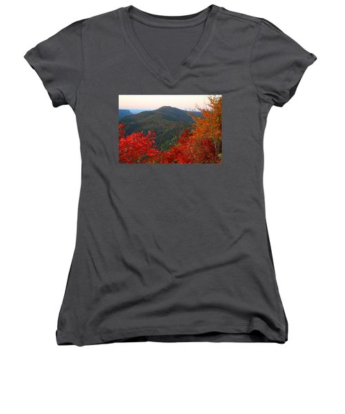 Women's V-Neck T-Shirt (Junior Cut) featuring the photograph Linville Gorge by Kathryn Meyer