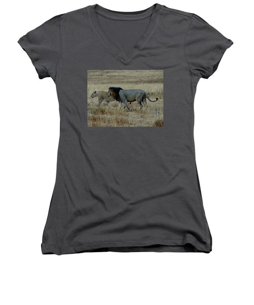Lion And Pregnant Lioness Walking Women's V-Neck (Athletic Fit)