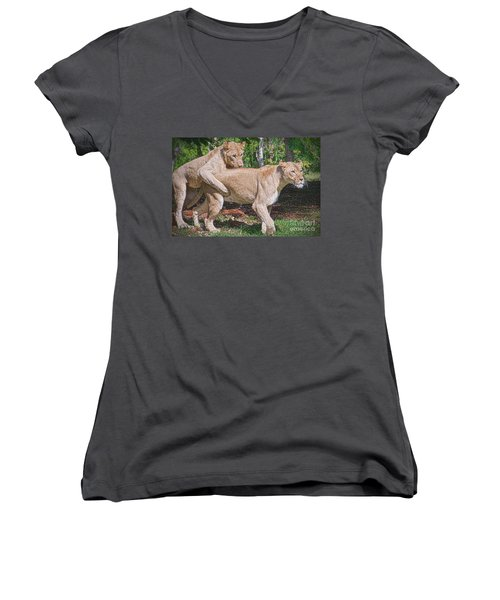 Women's V-Neck T-Shirt (Junior Cut) featuring the painting Lion Backer by Judy Kay