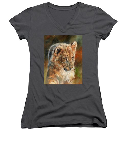 Women's V-Neck T-Shirt (Junior Cut) featuring the painting Lion Cub Portrait by David Stribbling