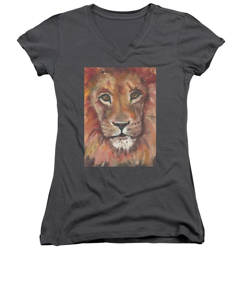 Women's V-Neck T-Shirt (Junior Cut) featuring the painting Lion by Jessmyne Stephenson