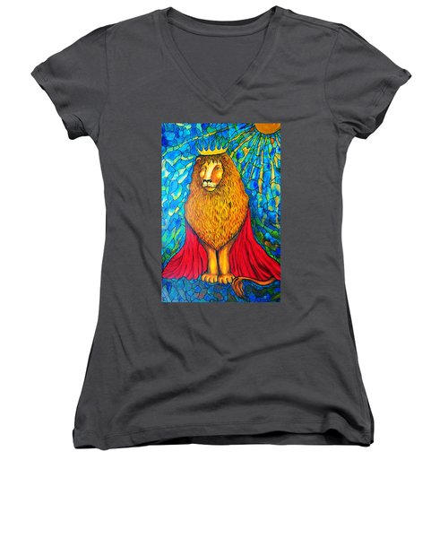 Women's V-Neck T-Shirt (Junior Cut) featuring the painting Lion-king by Rae Chichilnitsky