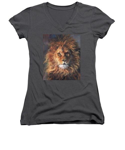 Lion Portrait Women's V-Neck T-Shirt (Junior Cut) by David Stribbling
