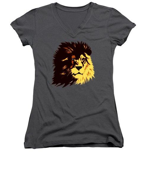 Lion Print Women's V-Neck
