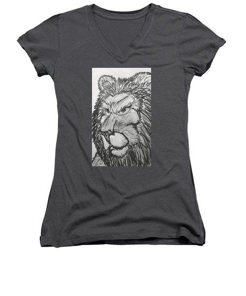 Lion Sketch  Women's V-Neck (Athletic Fit)