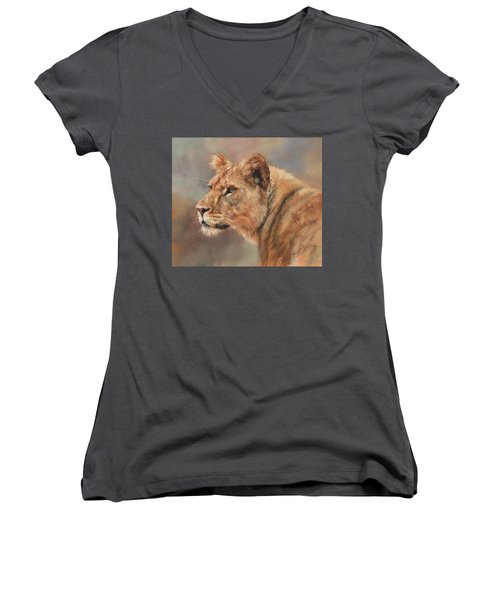 Women's V-Neck T-Shirt (Junior Cut) featuring the painting Lioness Portrait by David Stribbling