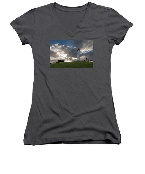 Lion's Lighthouse For Sight - 2 Women's V-Neck T-Shirt (Junior Cut) by Ed Clark