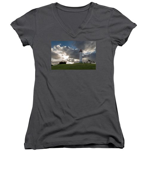 Lion's Lighthouse For Sight - 2 Women's V-Neck T-Shirt