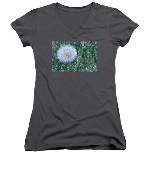 Women's V-Neck T-Shirt (Junior Cut) featuring the photograph Lion's Tooth by Mary Mikawoz