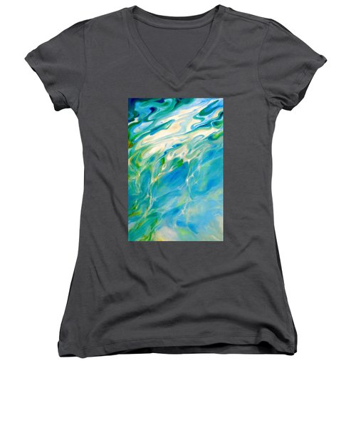 Women's V-Neck T-Shirt (Junior Cut) featuring the painting Liquid Assets by Dina Dargo
